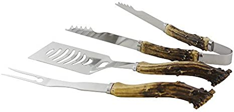 PINE RIDGE Antler Handle Grilling Set for BBQ Outdoors Style Cooking and Grill 3 Piece