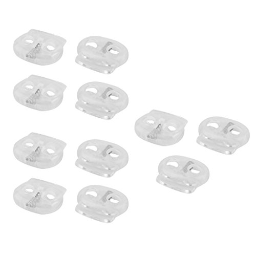0.75' Toggle (uxcell Plastic Sportwear Luggage Spring Double Holes End Stopper Cord Locks 11 Pcs Clear)