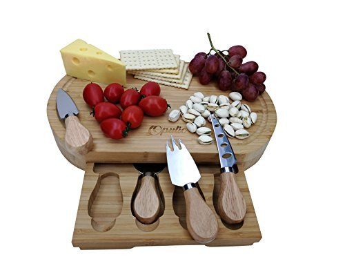 Opulic Bamboo Cheese Board and Knife Set – Charcuterie Wooden Serving Board, Comes Complete with 4 Cheese Knives in a Slide-Out Drawer, Great as Party Platter for Cheese Lovers by Opulic