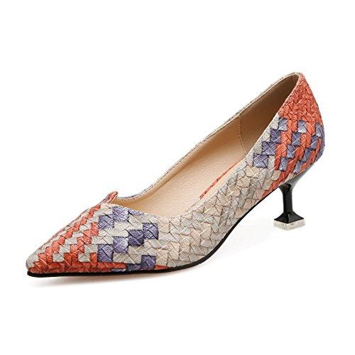 gaolimレディース靴Fine withハイヒールヒントシングル靴メスライトとシン唇靴with High Heels (6 – 8 cm B07D34SLH6  The Orange 38