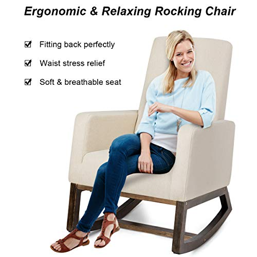 Giantex Upholstered Rocking Chair, Modern High Back Armchair, Comfortable Rocker Fabric Padded Seat Wood Base, Rocking Chair for Nursery (Beige)