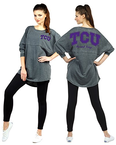 Frog Terry (Chicka-d Women's Long Sleeve TCU Horned Frogs French Terry Varsity Jersey, Medium)