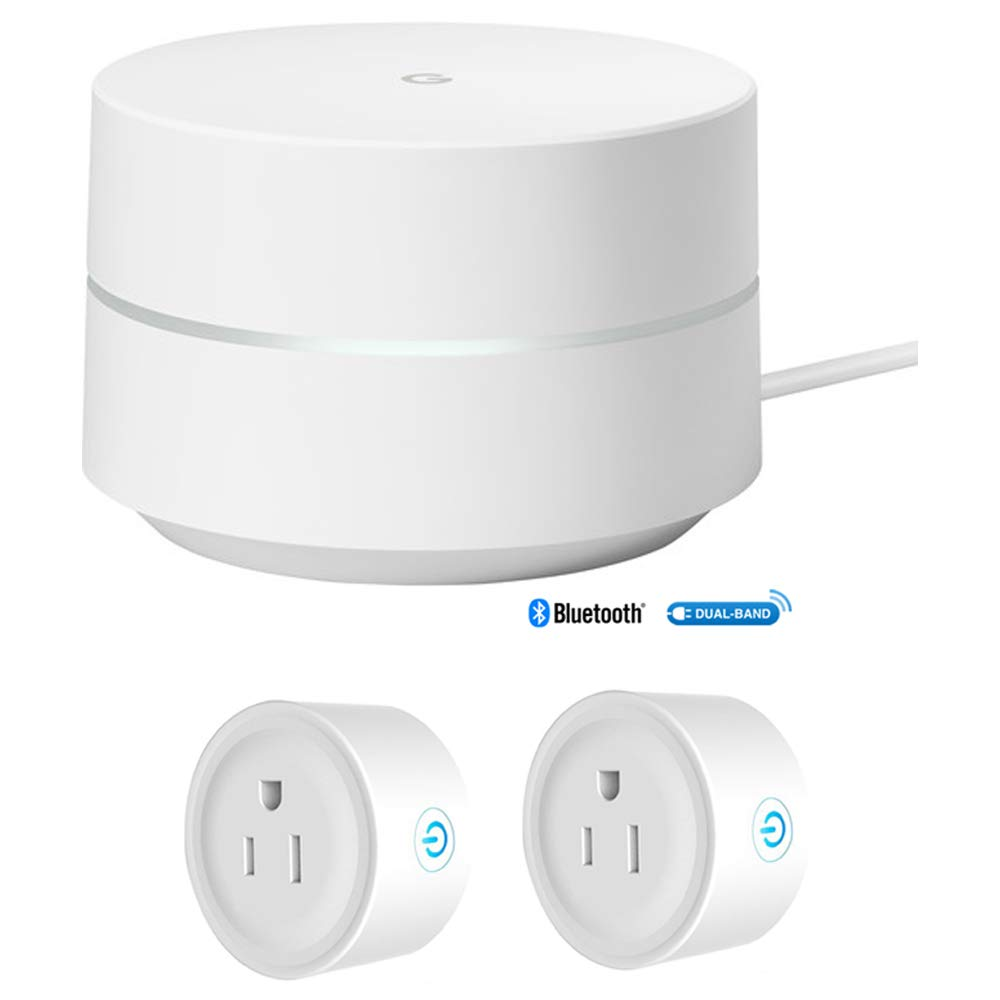 Google Wi-Fi - 1-Pack (GA00157-US) w/Deco Gear 2 Pack WiFi Smart Plug by Google