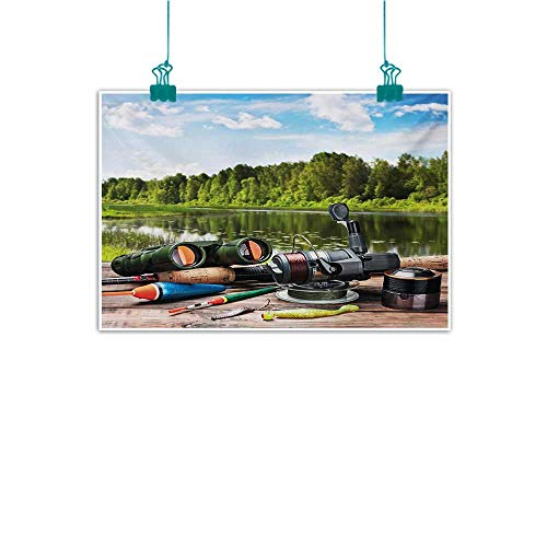 Mdxizc Light Luxury American Oil Painting Hunting Fishing Tackle on a Pontoon Lake in The Woods Trees and Greenery Freshwater Hob Home and Everything W35 xL31 Multicolor