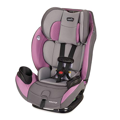 Evenflo EveryStage LX All-in-One Car Seat, Rear-Facing Seat, Convertible Booster Car Seat, Grows with Child Up to 120 lbs, Angled for Comfort Safety, 3-Times-Tighter Installation, Mira Pink