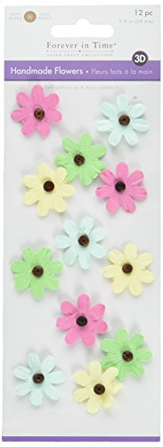 Multicraft Imports FE234A Luau Craft Handmade Flowers Stickers (12 Pack), Multicolor ()
