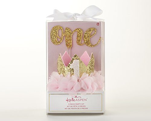 (Kate Aspen, Gold Glitter 1st Birthday Décor Kit, Baby Birthday Set,)