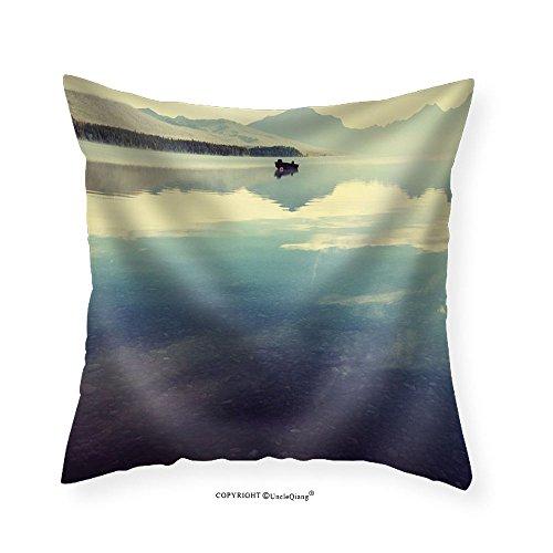 VROSELV Custom Cotton Linen Pillowcase Bowman Lake in Glacier National Park Montana Usa - Fabric Home Decor ()