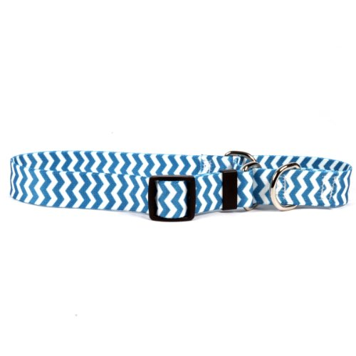 14' Long Dog Collars - Chevron Blueberry Martingale Control Dog Collar - Size Small 14