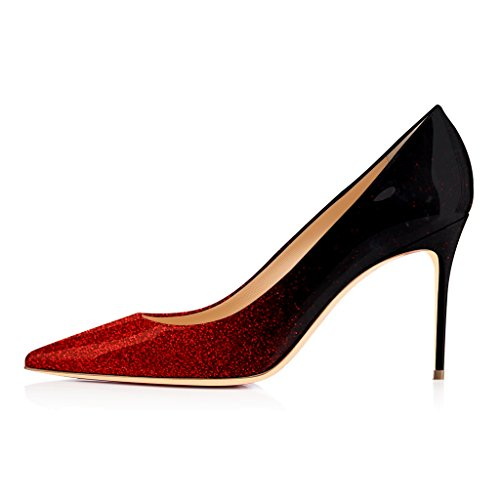Pumps US Toe 4 Heels Stilettos 15 Red Shoes FSJ Women Size High Glitter Dress Gradient Stylish Pointy RqIpwAXw