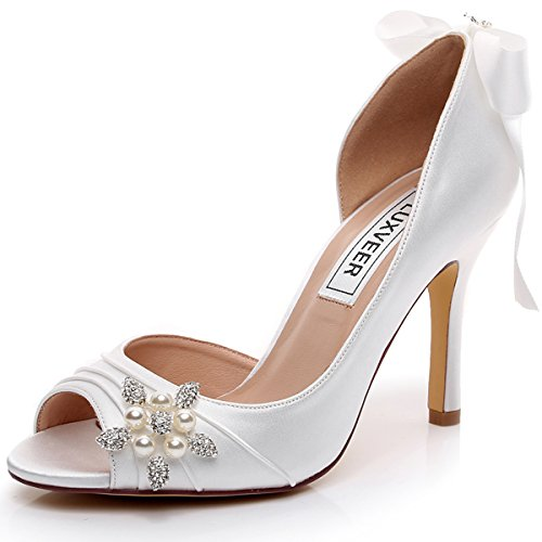LUXVEER Satin Bridal Shoes Peep Toe Dress Shoes with Bowknot and Brooch Medium Heels 3 inch RS-2071-Ivory-EU42
