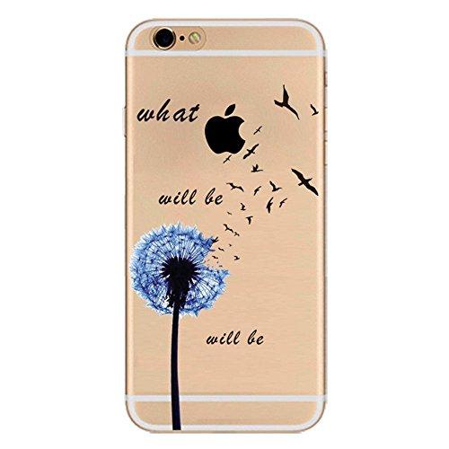 iPhone 6S Cover Silicone, Protettivo Trasparente TPU Shell Case per 4.7 Apple iPhone 6/iPhone 6S Slim Flessibile Morbide Gel Anti-graffio Crystal Clear Gomma Bumper Case Modello Dandelion Design