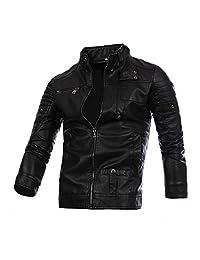 WSLCN Men's Artificial Leather Moto Zipped Biker Jacket Waterproof Coat