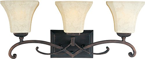 (Maxim 21073FLRB Oak Harbor 3-Light Bath Vanity, Rustic Burnished Finish, Frost Lichen Glass, MB Incandescent Incandescent Bulb , 0.21W Max., Damp Safety Rating, 3500K Color Temp, Magnetic Low-Voltage Dimmable, Shade Material, 666 Rated Lumens)