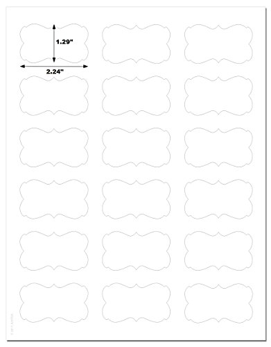Decorative Waterproof White Matte Semi-Rectangle Labels, 2.24 x 1.29 inches, for Laser Printers with Downloadable Template and Printing Instructions, 5 Sheets, 90 Labels (DL22)]()