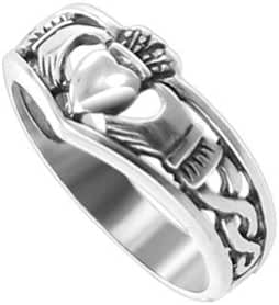 Gem Avenue 925 Sterling Silver Crowned Heart Friendship and Love Irish Claddagh Ring