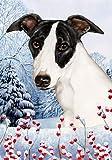 "Cheap Whippet by Tamara Burnett Winter Berries Garden Dog Breed Flag 12"" x 18″"
