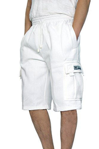DREAM USA Men's Fleece Cargo Shorts Heavyweight M-5XL