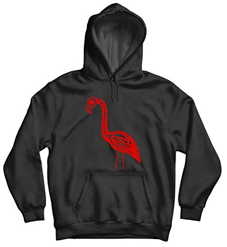 Flamingo Halloween Dead Skull_010890 Hooded Pullover Unisex MD Black Hoodie