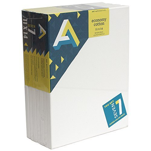 Art Alternatives stretched White Canvas Super Value Pack-11 x 14 inches-Pack of 7 by Art Alternatives