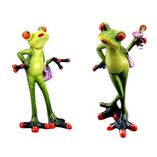 - Homyl Pack 2 Funny Resin 3D Frog Novelty Gifts Elegant Lady Figurine Office Desktop Decoration Crafts