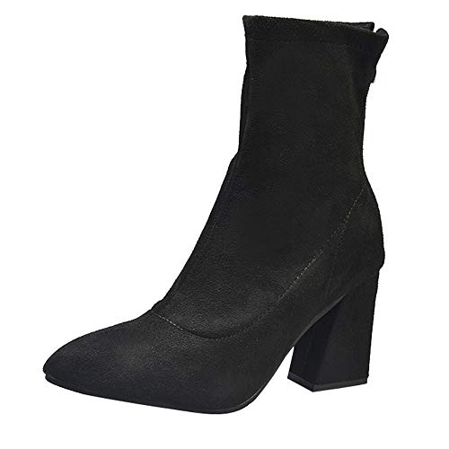 (Creazrise Women's Fashion Casual Pointed Toe Block High Heel Ankle Booties with Back Zipper (Black,8))