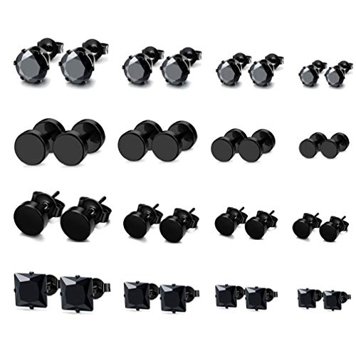 Faux Onyx Ring - Besteel 16 Pairs 18G Stainless Steel Stud Earrings for Men Women Faux Gauges Ear Tunnel CZ Inlaid 3-6mm Black