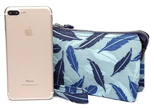 Crest Design Water Repellent Nylon Wristlet Clutch Wallet Cell Phone Pouch (Blue Feather) by Crest Design (Image #3)