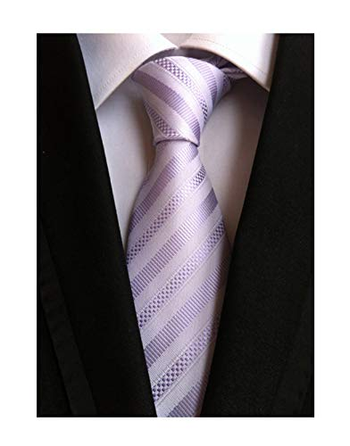 - Elfeves Men's Modern Striped Patterned Classic Formal Ties College Daily Woven Neckties (One Size, Light purple)