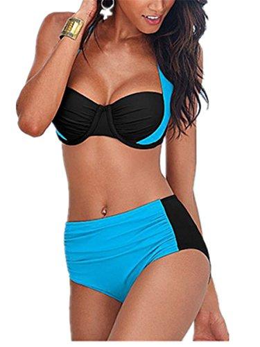 SHUNLIU Mujer Traje de Baño Mujer Bikinis Bañadores del Triángulo Bañadores Mujer Tallas Grandes Traje de Baño Mujer Rosa Azul claro