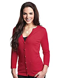 Tri-Mountain LB929 Womens 3/4 Sleeve Sweater Cardigan