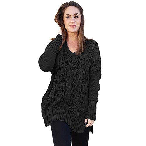 Otoño color nuevo de larga suéter invierno y sólido suelto en e de cuello punto cómodo manga gris con cáñamo cómodo V mujeres rtgqxtBT