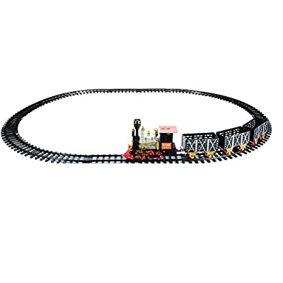 Northlight 20-Piece Black and Red Battery Operated Lighted & Animated Classic Train Set with Sound: Toys & Games