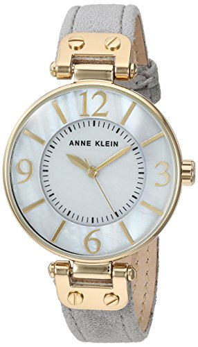 Anne Klein Women's AK/2738GMGY Gold-Tone and Grey Suede Leather Strap Watch