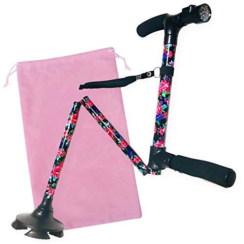 [보행보조재활지팡이] K & Rmercado 여성용 접이식 넘어지지 지팡이 수납 백이 5 단계 신축성있는 69cm ~ 81cm 꽃 무늬 4 점 자립 식 LED 라이트 탑재 경량 보행 보조 간호 여성 스틱