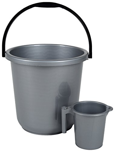 Regalo Unbreakable Plastic Bucket with Mug (16ltr) Grey