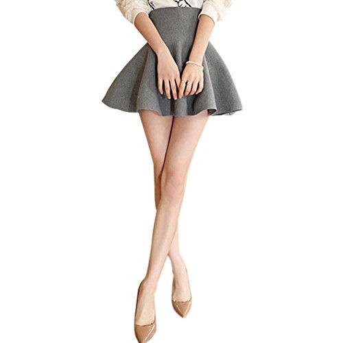 Fedi Apparel Sexy Pleated Mini Skirt Skater Womens High Waist Winter Stretch Short Skirt (Short Gray Skirt)