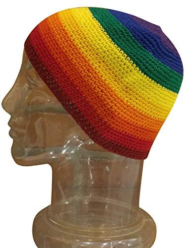 Medium-Long Skull Cap Beanie Hat Crochet 100% Breathable Cotton Rainbow Stripes Blue Purple