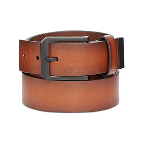 Alfani Men's Leather 35mm Cut Edge Jean Casual Belt, Tan 32/80 (Alfani Belt)