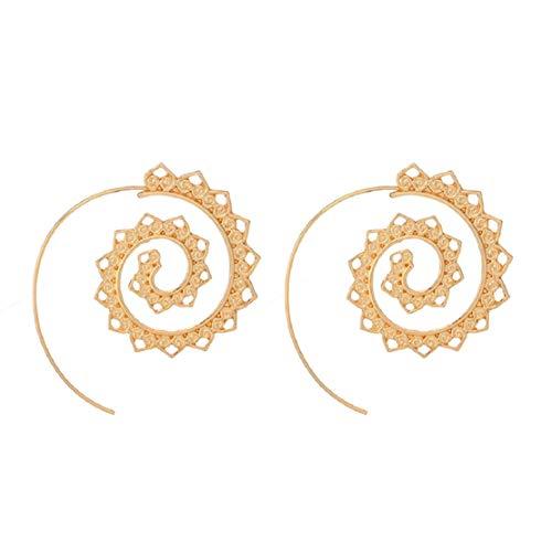 (Boho Bohemian Vintage Spiral Hook Earrings Tribal Earrings Hollow Out Flower Bohemia Dress Accessory by Lowprofile Gold)