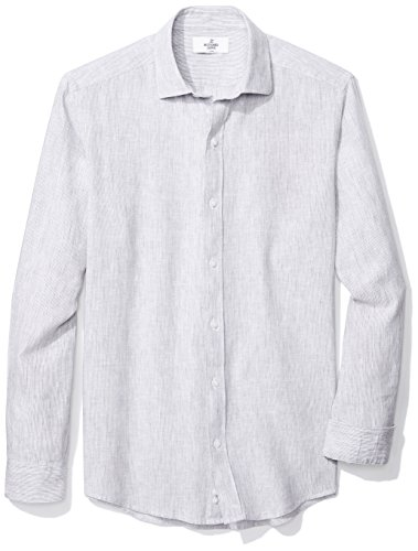 Buttoned Down Men's Fitted Spread-Collar Sport Shirt, Light Grey Stripe, L 34/35