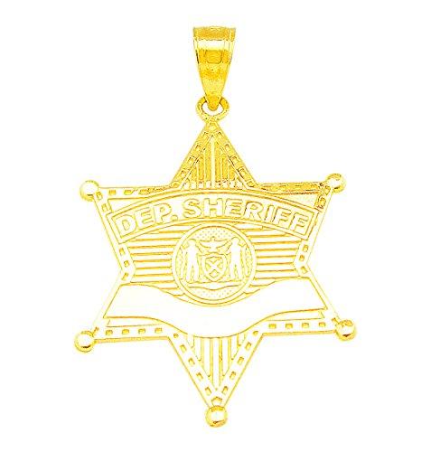 (AMZ Jewelry 10K Yellow Gold Deputy Sheriff Badge Charm Pendant Police Pendant)