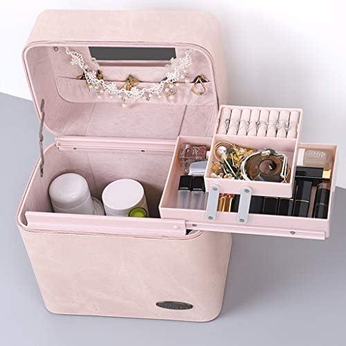 化粧品収納ボックス 家庭用ポータブルスーツケース口紅スキンケアジュエリーストレージボックスデニムテクスチャブルーブラックピンク SYFO (Color : Pink)