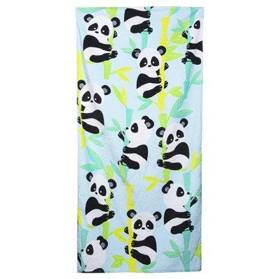 Tree Blue Bamboo (High Five Childrens Panda Bear Beach Towel On Bamboo Tree Green and Blue Background (100% Cotton, 30 Inches x 60 Inches))