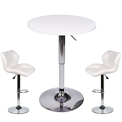 ELECWISH Pub Table with Bar Stools Set for Kitchen Home Dining Room (White Set B) (3 Piece Modern Table)