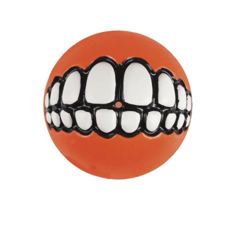 - Rogz Fun Dog Treat Ball in various sizes and colors, Small, Orange