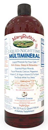Old Liquid Sleep Multimineral (Coconut) Vegan Vitamins, Minerals, Magnesium, Calcium & MSM | Natural Sleep & Stress Aid | Muscle Relaxation | NO Melatonin | Non-GMO Paleo 0 Sugar 0 - Vitamin Nighttime
