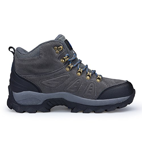 HUAYU Mens Lightweight Leather Comfortable Breathable Walking Hiking mid Boots
