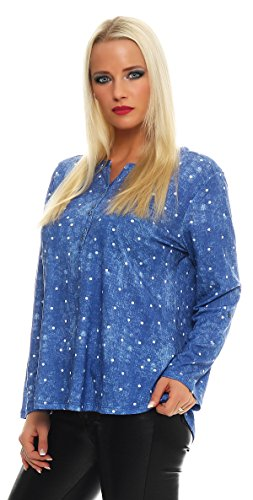 BENTER Damen camisa shell Fisher camisa de algodón de manga larga Regular Fit ocasional punto-52