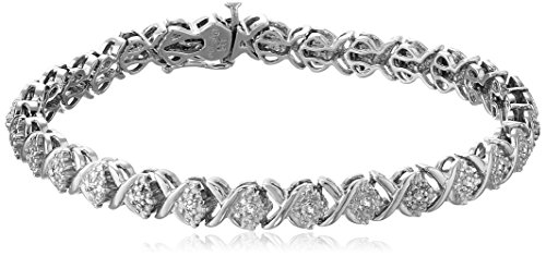 (Sterling Silver Diamond X-Link Bracelet (1/10 cttw, I-J Color, I2-I3 Clarity), 7.25
